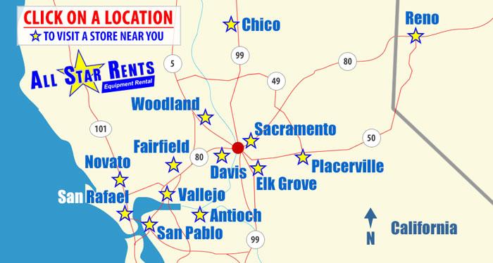 Tool and Equipment Rental Store Davis California | Equipment Rental Davis California Map on